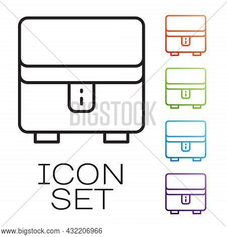 Black Line Jewelry Box Icon Isolated On White Background. Casket With Jewelry. Set Icons Colorful. V