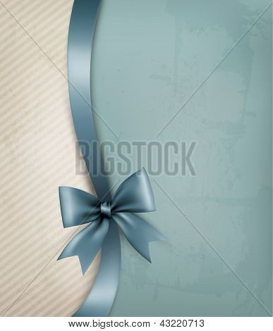 Holiday Background With Old_paper And Gift Bow And Ribbon. Vector