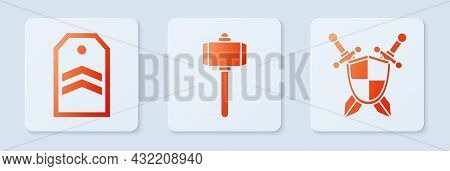 Set Battle Hammer, Chevron And Medieval Shield With Crossed Swords. White Square Button. Vector