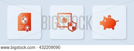 Set Safe With Shield, Contract And Piggy Bank. White Square Button. Vector