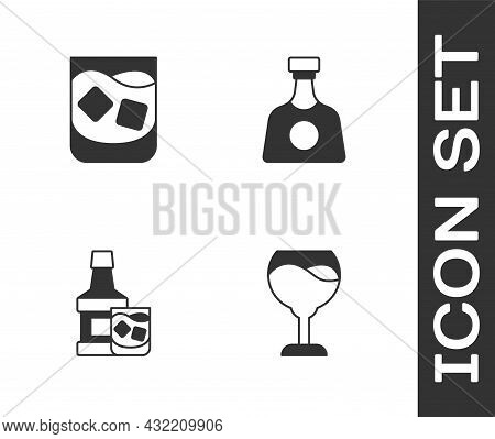 Set Wine Glass, Glass Of Whiskey, Whiskey Bottle And And Tequila Icon. Vector