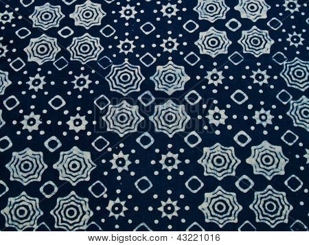 Blue Batik Fabric With Repettition Pattern As Background From Yogyakarta, Indonesia