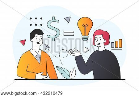 Business Startup Investment. Partners Negotiate And Discuss Financing Of Business. Metaphor Of Inves