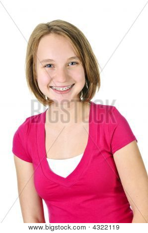 Teenage Girl Smiling With Braces