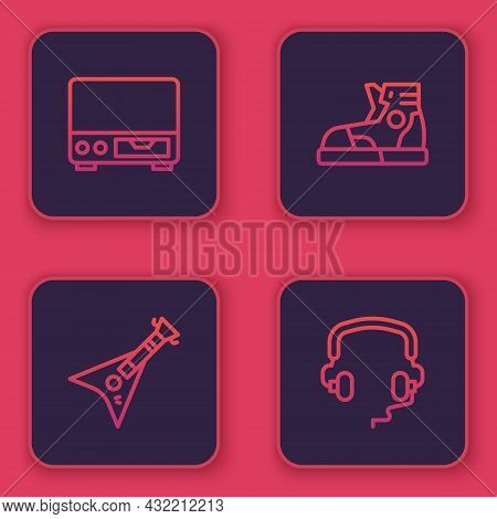 Set Line Old Video Cassette Player, Electric Bass Guitar, Sport Sneakers And Headphones. Blue Square