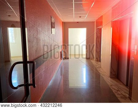 The Interior Of The Entrance To An Apartment Building. Office Building Interior