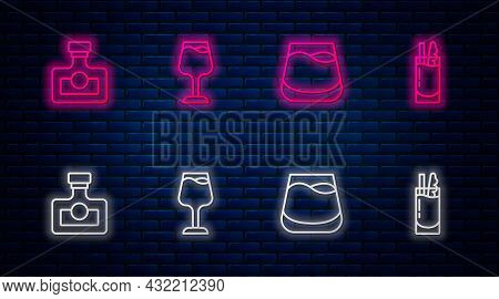 Set Line Wine Glass, Glass Of Whiskey, Alcohol Drink Rum And Cocktail Bloody Mary. Glowing Neon Icon