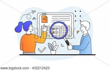 Man And Woman Examine Documents With Magnifying Glass. Checking Papers, Working In Office, Studying
