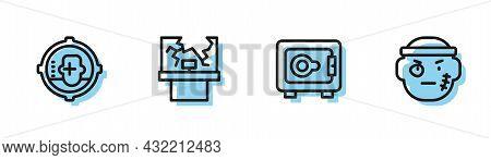 Set Line Safe, Headshot, Broken Window And Bandit Icon. Vector