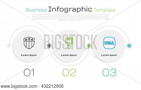 Set Line Shield With Stars, American Football Goal Post And Usa Independence Day. Business Infograph