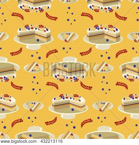 Seamless Pattern Fruit Pie Stuffed With Apricot, Red Currant And Blueberry. Design For Fabric, Texti