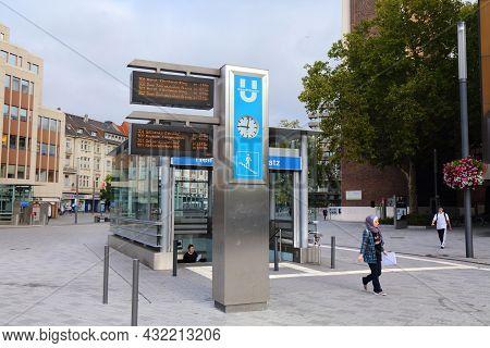 Gelsenkirchen, Germany - September 17, 2020: People Visit Heinrich-koenig-platz, A City Square In Ge