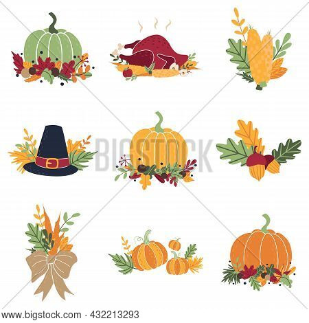 Collection Of Simple Doodle Flat Clipart For Thanksgiving, Harvest Day, Halloween. Set Of Autumn Car