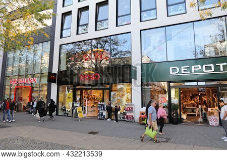 Herne, Germany - September 17, 2020: Shoppers Visit Downtown Herne, Germany. Total Retail Sales In G