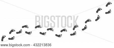 Footprint Icon. Barefoot Symbol. Step Mark. Trekking Shape. Distance Badge. Foot Silhouette. Follow