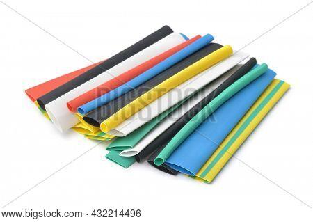 Set of various heat shrink tubing isolated on white