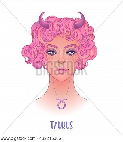 Illustration Of Taurus Astrological Sign As A Beautiful Girl. Zodiac Vector Illustration Isolated On