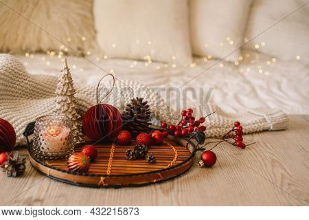 Happy New Years. Christmas Background With Fir Tree, Cones And Christmas Decorations. Christmas Holi