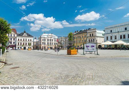 Cieszyn, Poland - June 5, 2021: The Main Market (rynek) Square At Summer Time.