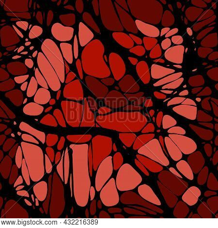 Seamless Pattern With Abstract Patterns, Lines. Neuro Graphics. Black Lines On An Abstract Multicolo