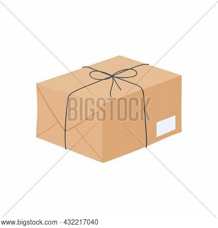 Flat Design Cartoon Postal Package Illustration. Post Element.