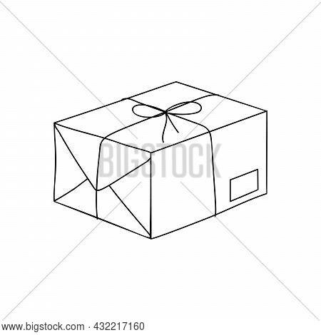 Line Art Design Cartoon Postal Package Illustration. Post Element.
