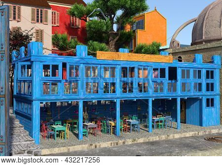 3d Rendering Of A Mediterranean Tavern Outside