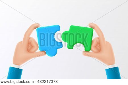 Cartoon Hands Connect Pieces Of Jigsaw Puzzle. Symbol Of Teamwork, Cooperation Or Partnership. Vecto