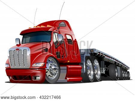 Cartoon Semi Truck. Available Eps-10 Vector Format Separated By Groups And Layers With Transparency