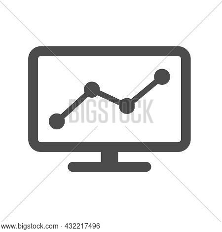 Pc Monitor With Rgaph Silhouette Vector Icon Isolated On White Background. Pc Monitor With Chart Ico