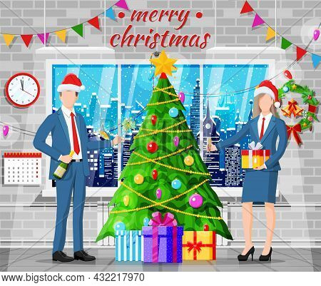 Christmas And New Year Office Workspace Interior. Gift Box, Christmas Tree, Winter Cityscape In Wind