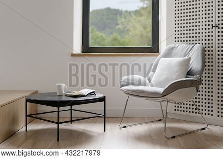 Modern Style Of Living Room, Home Interior. House Design With Furniture, Minimalistic Apartment. Com