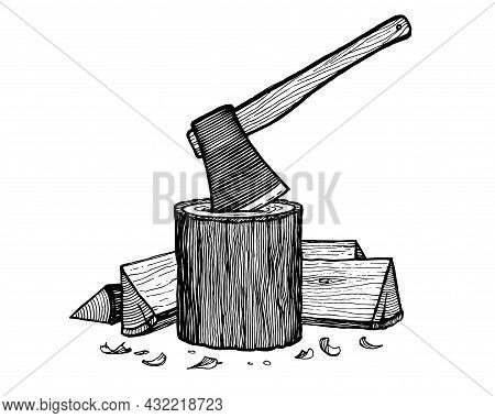 An Axe Stuck In A Log, A Log Of Firewood, Vector Illustration. Vintage Graphics And Handwork. Tools