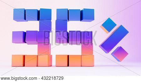 Colorful Boxes Forming The Number Thirty-five Isolated On White Background, 3d Render