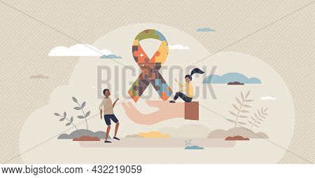 Autism Disease Puzzle Symbol For Mental Children Disease Tiny Person Concept. Disability Syndrome Sy