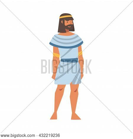 Egyptian Man Character Wearing Authentic Garment And Neck Collar Vector Illustration