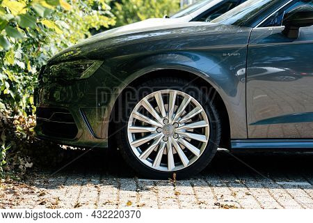 Netherlands - Aug 27, 2019: Side View Of New Audi E-tron Car With Aluminum Rims