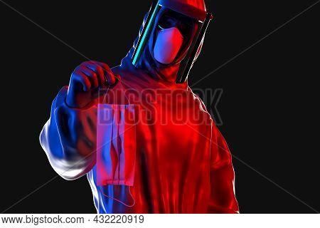 Medical Worker In Hazmat Suit Holding Protective Medical Face Mask. 3d Illustration