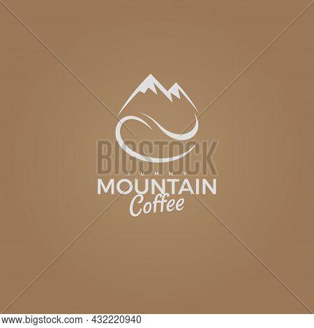 Mountain Coffee Vector Logo, Grain With Rock Icon. Yummy Adventure Taste, Coffee Shop Business Logot