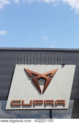 Villefranche, France - July 10, 2021: Cupra Logo On A Wall. Cupra Formerly Known As Seat Sport Is Th