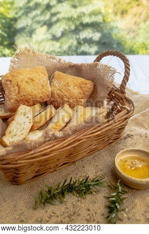 Ciabatta bread on wooden background, breakfast meal, Italian food