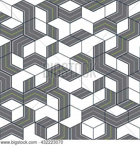 Seamless Vector Road Pattern Geometric Style. Top View Path Background. Roadmap Highway Illustration