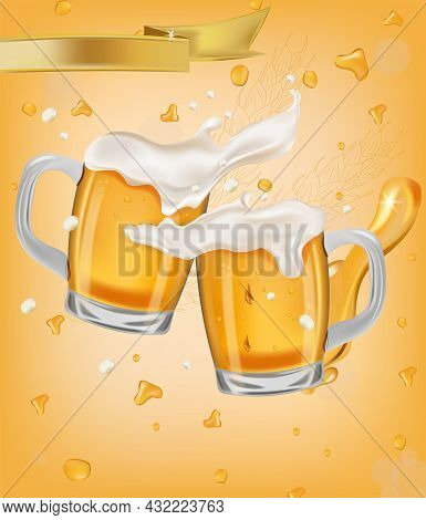 Two Various Full Glass Cup With Beer. Refreshing Mug Beer With Splashing Foam And Bubbles, Drops Bee