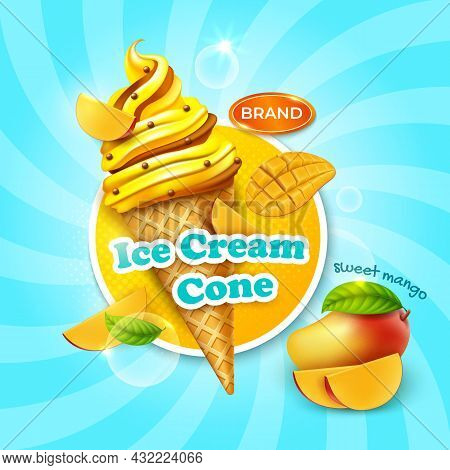 Realistic Detailed 3d Sweet Mango Ice Cream Cone Ads Banner Concept Poster Card. Vector Illustration
