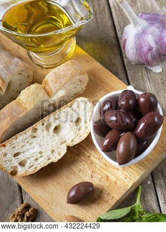 Fresh Bread Ciabatta And Aromatic Olive Oil With Herbs And .