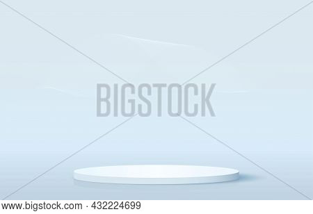 Stage Podium Decorated With Geometric Waves Background. Realistic 3d Rendering Pedestal And Wall On