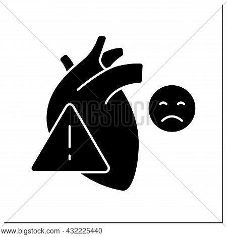 Heart Attack Glyph Icon. Pain In Heart. Bad Feelings. Cardiovascular Disease. Internal Organs Diseas