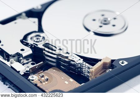 Close Up Of Open Hard Disk Drive Hdd. Computer Hardware Data Storage
