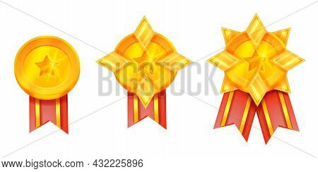 Gold Medal Award Vector Illustration, Game Trophy Prize Icon Set, Red Ribbon, Star Isolated On White