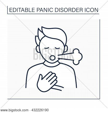 Breath Shortness Line Icon. Dyspnea. Through Fear And Anxiety, Man Feels Air Hungry. Scare Attack. P